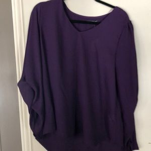 Saraia dark purple ruched sleeve blouse